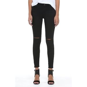 Topshop Moto 'Leigh' Ripped Skinny Black Jeans